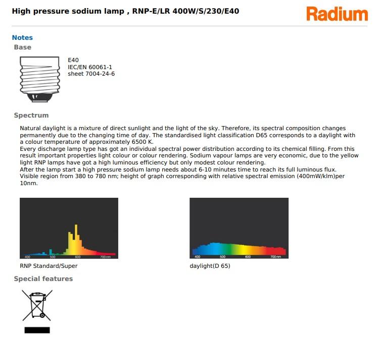 Bóng đèn cao áp Radium RNP-E/LR 250W/S/230/E40